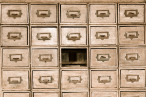 library card sorting shelves